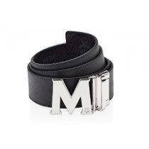 MCM Claus Reversible Silver Buckle Belt Black