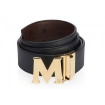 MCM Claus Reversible Gold Buckle Belt Black