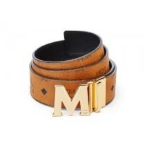MCM Claus Reversible Gold Buckle Belt Cognac
