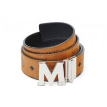 MCM Claus Reversible Silver Buckle Belt Cognac