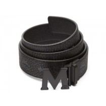 MCM Claus PVD Matte Leather Belt Black