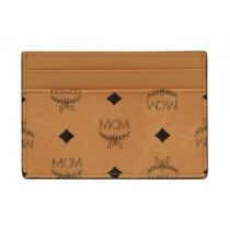 MCM Visetos Original Mini Card Case Cognac