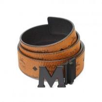 MCM Claus PVD Matte Leather Belt Cognac
