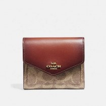 Coach Colorblock Signature Small Wallet Tan Rust