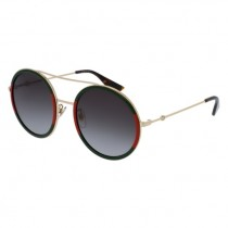 Gucci Round Red, Green, Gold metal, grey lens