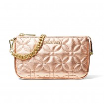 MK Med Chain Pouchette - Light Rose Flora Quilted