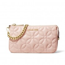 MK Med Chain Pouchette - Soft Pink Flora Quilted