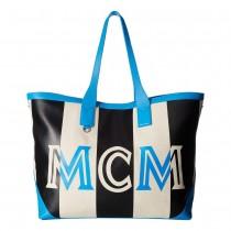 MCM Ilse Canvas Large Shopper - Tile Blue