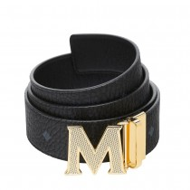 MCM Claus Reversible Belt Black Gold Textured Buckle