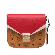 MCM Patricia Shoulder Bag Cognac/Red