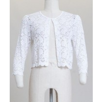 All Over Lace Scallop Hem Cardigan White