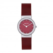 BERING Ladies 10126-303 Classic Watch With Swarovski Elements & Red Mesh Strap
