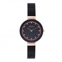 BERING Ladies 11429-166 Ceramic Watch With Swarovski Elements & Black Mesh Strap