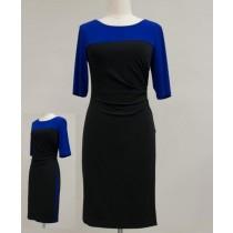 Knit Colorblock Jersey Mock Wrap Dress
