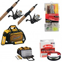 Pure Fishing Fishing Duo Package - 2 Rod/Reel Combos Line Tackle Bag Tackle Box