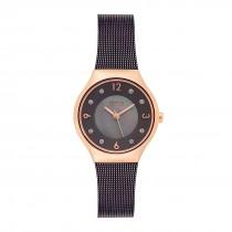 BERING Ladies 14427-265 Solar Watch With Swarovski Elements & Brown Mesh Strap