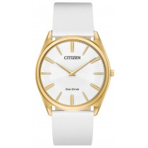 Citizen Ladies' Eco-Drive Stiletto Watch, White Leather Strap with White Dial