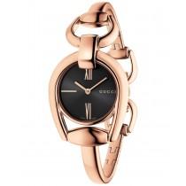 Gucci Women's Swiss Horsebit Rose Gold-Tone PVD Bangle Bracelet Watch 28mm YA139507