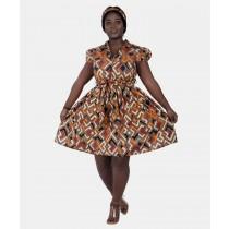 Ethnic Print Mid Length Dress w/ Headwrap Light Brown
