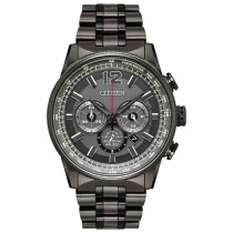 Citizen Men's Nighthawk Eco-Drive Watch, SS with Grey Dial and Red Accents