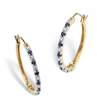 Gold over Silver Hoop Earrings Sapphire and Diamond Accent (7/8 cttw)