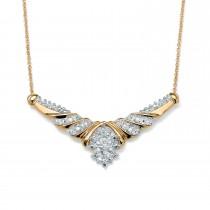 10K Gold Genuine Diamond Chevron Cluster Choker Necklace