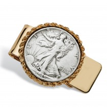 Men's Commemorative Framed Genuine Half Dollar Year to Remember Money Clip in Gold Tone