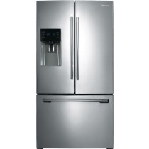 Samsung - 24.6 Cu. Ft. French Door Refrigerator with Thru-the-Door Ice and Water - Stainless Steel (w/Kit)
