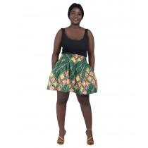 Short Ethnic Print Skirt Green