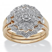 18K Gold over Sterling Silver Round Diamond Bridal Ring Set (1/7 cttw, HI Color, I3 Clarity)