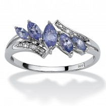 Platinum over Sterling Silver 3/4 cttw Marquise Cut Genuine Tanzanite Ring