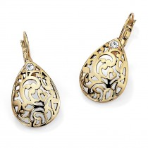 14K Yellow Gold-Plated Filigree Pear Drop Earrings (35x17mm) Round Crystal