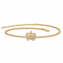 """Gold-Plated Filigree Butterfly Two Tone Ankle Bracelet 9"""" plus 2"""" ext"""