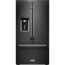 KitchenAid 23.8 Cu. Ft. French Door Counter-Depth Refrigerator Black Stainless Steel (w/Kit)
