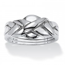 Platinum over Sterling Silver Interlocking Puzzle Ring