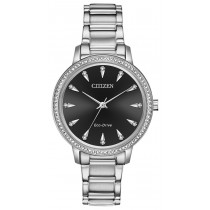 Citizen Ladies' Eco-Drive Silhouette Crystal Watch, Stainless Steel with Black Dial