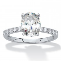 Platinum over Sterling Silver Oval Cut Simulated White Sapphire Engagement Ring