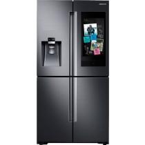 Samsung Family Hub 28 Cu. Ft. 4-Door Flex French Door Refrigerator Fingerprint Resistant Black Stainless Steel (w/Kit)