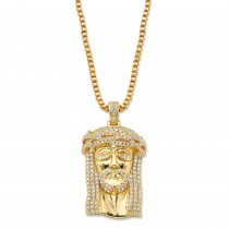 14K Yellow Gold-plated Round Cubic Zirconia Jesus Pendant Box Chain Necklace 20""