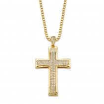 14K Yellow Gold-plated Men's Round Cubic Zirconia Cross Pendant Box Chain Necklace 20""