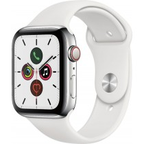Apple Watch Series 5 (GPS + Cellular) 44mm Stainless Steel Case with White Sport Band - Stainless Steel
