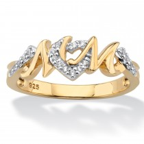 Yellow Gold over Sterling Silver Genuine Diamond Mom Ring