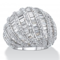 Platinum-Plated Baguette-Cut and Rome Cubic Zirconia Dome Ring