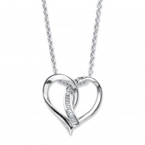 "Sterling Silver Heart Pendant (18mm) Genuine Diamond Accent 18""-20"""