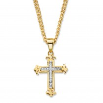 14K Yellow Gold-Plated Cross Pendant (15mm) Genuine Diamond Accent 22""
