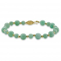 14k Gold Over Sterling Silver Bracelet (8mm), Round Shaped Genuine Green Jade, 8""