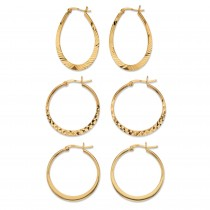 18K Yellow Gold over Sterling Silver Diamond Cut 3 Pair Set Hoop Earrings (30mm)