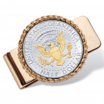 Men's Gold Tone Round Genuine Silver American Eagle Coin Money Clip (36mm)