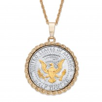 "Men's Gold Tone Round Genuine Silver Half Dollar Coin Pendant Necklace 22""-25""  (35mm)"