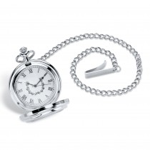 Men's Silvertone Genuine Commemorative Silver Half-Dollar Coin Pocket Watch with 14 inch Chain